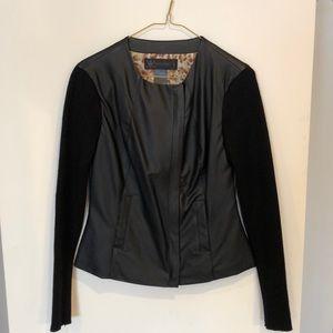 Kardashian Kollection faux leather sweater jacket